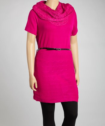 Magenta Belted Tunic - Plus