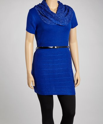 Royal Blue Belted Tunic - Plus