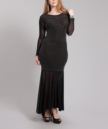 Black & Silver Sparkle Me Ruffle Maxi Dress - Plus