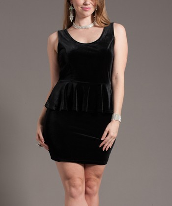 Black Velour Glam Peplum Dress - Plus