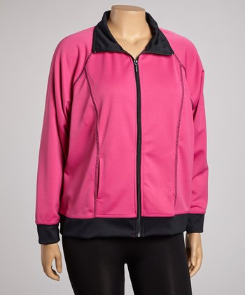 Pink & Black Track Jacket  - Plus