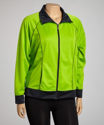 Lime & Black Track Jacket  - Plus