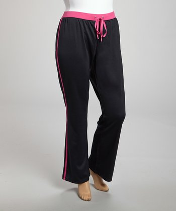 Black & Pink Stripe Pants - Plus