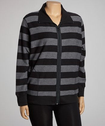 Black & Gray Stripe Zip-Up Track Jacket  - Plus