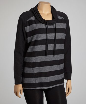 Black & Gray Stripe Cowl Neck Pullover - Plus