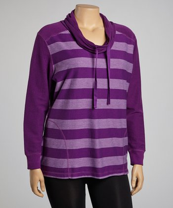 Purple & Lavender Stripe Cowl Neck Pullover - Plus