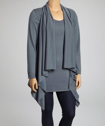 Gray Ribbed Layered Long-Sleeve Top - Plus