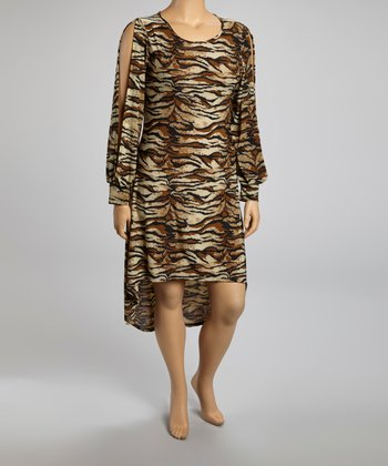 Brown Tiger Hi-Low Dress - Plus