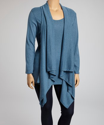 Heather Blue Ribbed Layered Long-Sleeve Top - Plus