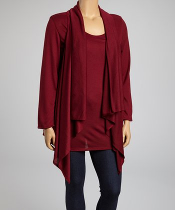 Burgundy Ribbed Layered Long-Sleeve Top - Plus