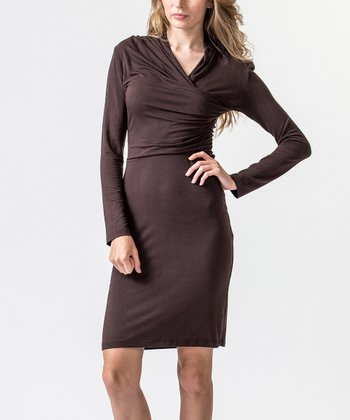 Brown Draped Dress