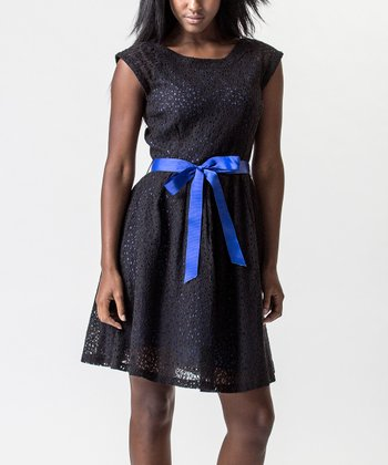 Black & Blue Lace Ribbon Dress