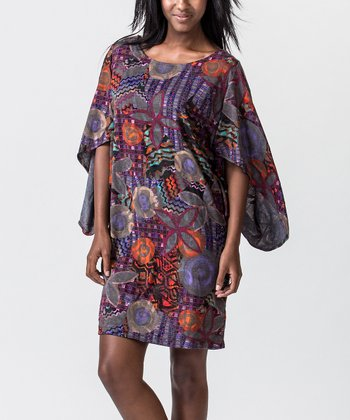 Red & Purple Floral Cape-Sleeve Dress
