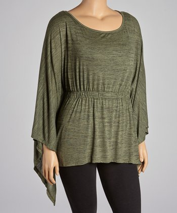 Olive Shirred Sidetail Top - Plus