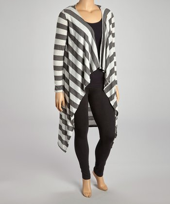 Gray & White Stripe Open Duster - Plus