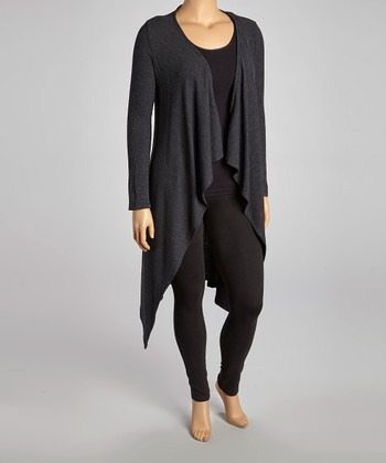 Dark Charcoal Open Duster - Plus