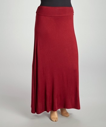 Burgandy Maxi Skirt - Plus