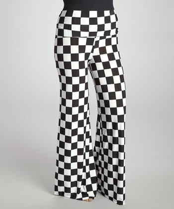 Black & White Checkered Palazzo Pants - Plus