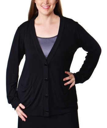 Black V-Neck Cardigan - Plus