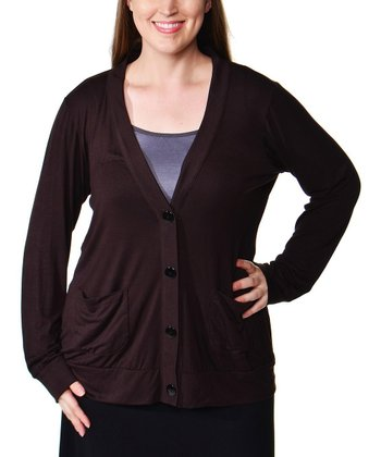Brown V-Neck Cardigan - Plus