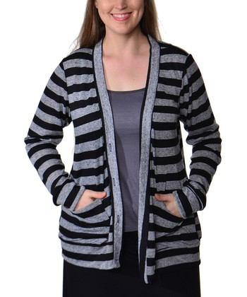 Grey & Black Stripe Cardigan - Plus