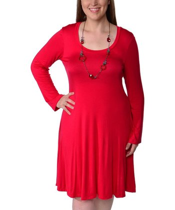 Red Scoop Neck Dress - Plus