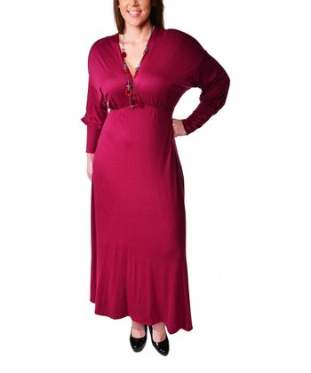 Wine Empire-Waist Maxi Dress - Plus