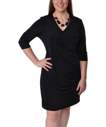 Black Ruched Surplice Dress - Plus