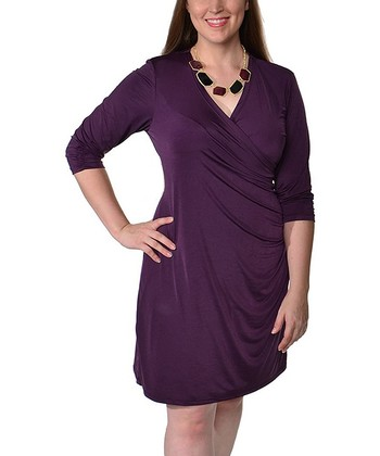 Purple Ruched Surplice Dress - Plus