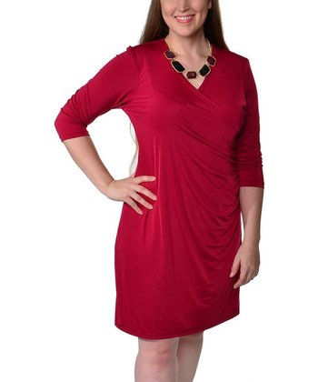 Wine Ruched Surplice Dress - Plus