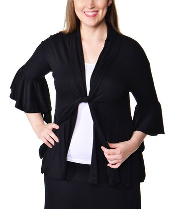 Black Tie-Neck Ruffle Jacket - Plus
