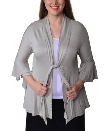 Cement Tie-Neck Ruffle Jacket - Plus