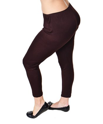 Brown Stretch Leggings - Plus