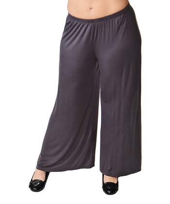 Charcoal Wide-Leg Pants - Plus