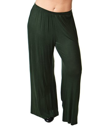 Olive Wide-Leg Pants - Plus