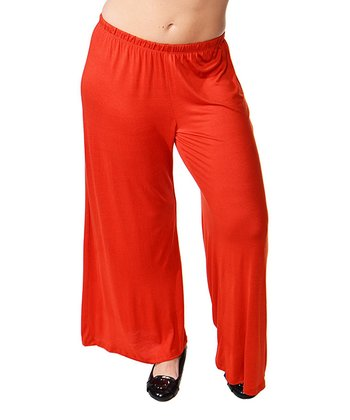 Rust Wide-Leg Pants - Plus