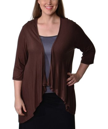 Brown Tapered Shrug - Plus