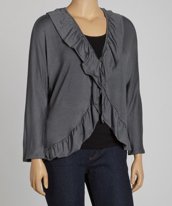 Charcoal Ruffle V-Neck Cardigan - Plus