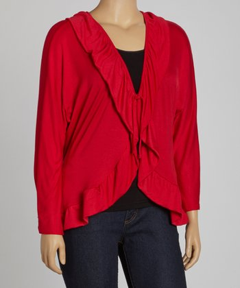 Red Ruffle V-Neck Cardigan - Plus