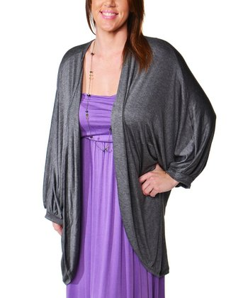 Smoke Ruched Open Cardigan - Plus