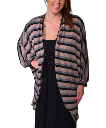Rose & Black Stripe Ruched Shrug - Plus