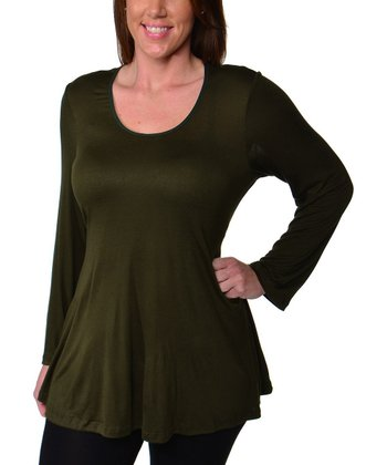 Army Scoop Neck Top - Plus