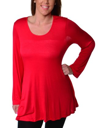 Red Scoop Neck Top - Plus