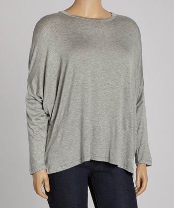 Heather Gray Crew Neck Top - Plus