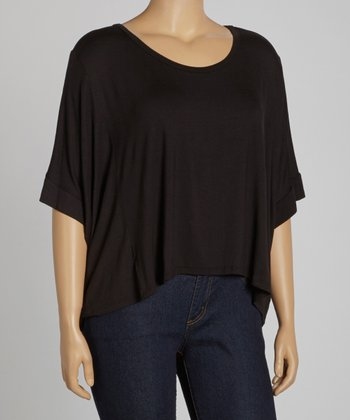 Black Cropped Crewneck Top - Plus