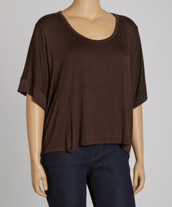 Brown Cropped Crewneck Top - Plus