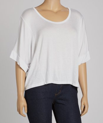 White Cropped Crewneck Top - Plus