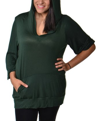 Olive Hooded V-Neck Top - Plus