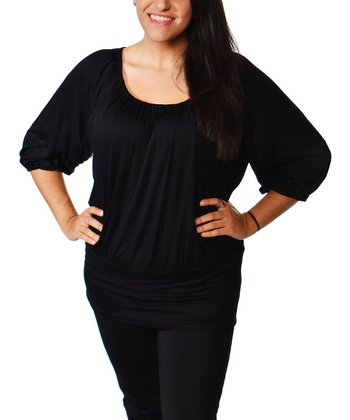 Black Ruched Scoop Neck Top - Plus