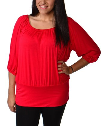 Red Ruched Scoop Neck Top - Plus